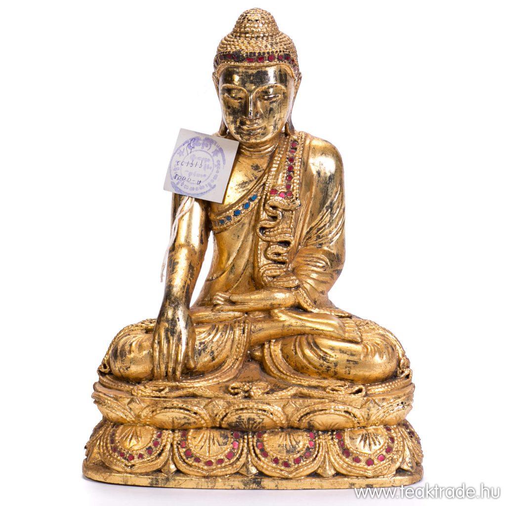 Lótuszvirágon ülő aranyozott Buddha szobor