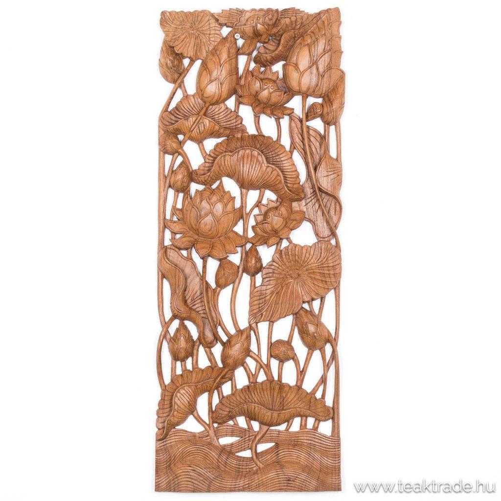 Lótuszvirág fafaragás falikép